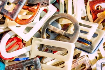 Lots of sewing accessories - belt latches - on the Flea Market