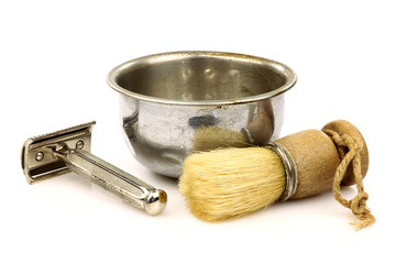 vintage barber shaving brush with metal shaving bowl and razo