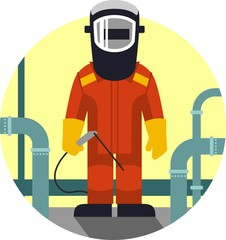Welder worker in flat style