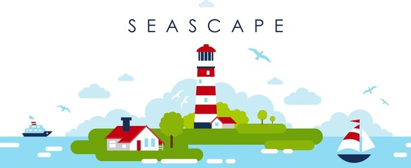 Sea panoramic landscape background with lighthouse in flat style