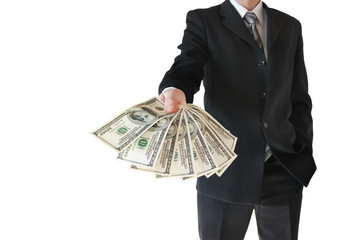 Man in  black suit offers money isolated on white background.