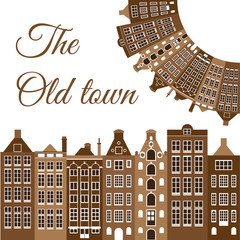Vector frame with the old houses. The old town logo