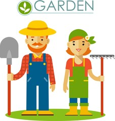Set of farmer gardener man and woman in flat style