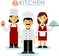 Set of chef cook and waitress in flat style