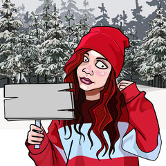 cartoon teen girl with a signboard in the winter forest