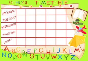 School timetable with Alphabet