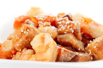 Deep fried eggplant and shrimps in sweet-sour sauce