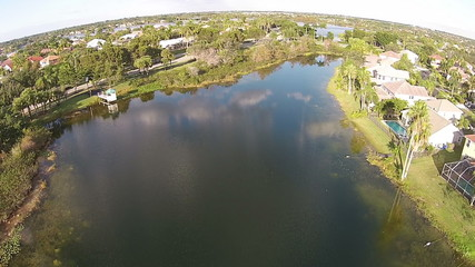 Aerial view of park and lake in Florida