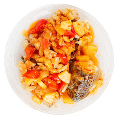 Deep fried carp in sweet-sour sauce, isolated