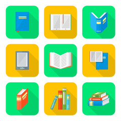 colored flat style books icons set