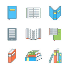 colored outline books icons set