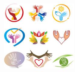 Ensemble Icones Mains / Collection Logos Mains Décoration