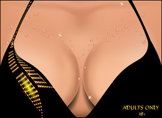 Beautiful female breast in water droplets. Vector illustration.