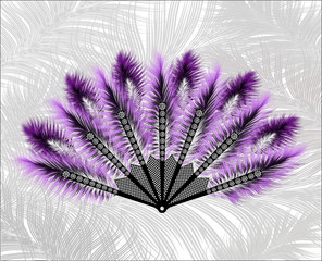 Elegant fan made of beautiful feathers.