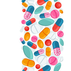 Medical seamless pattern with pills and capsules