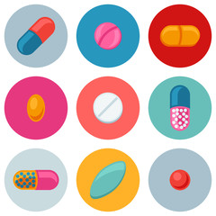Set of various pills and capsules icons
