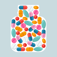 Medical background with pills and capsules in shape of bottle
