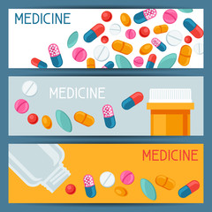Medical banners design with pills and capsules
