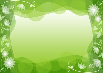 Green spring background with fine mirror floral motif