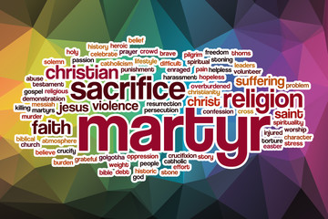 Martyr word cloud with abstract background