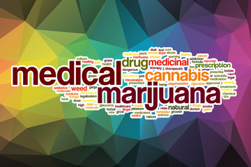 Medical marijuana word cloud with abstract background