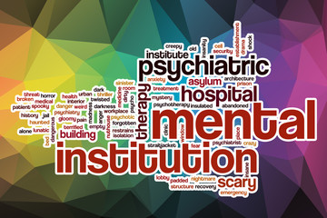 Mental institution word cloud with abstract background