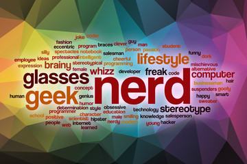 Nerd word cloud with abstract background