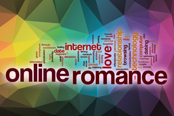 Online romance word cloud with abstract background