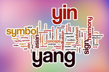 Yin yang word cloud with abstract background