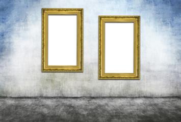 Two vertical golden frames