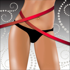Slender female hips and waist with a measuring tape. Vector illu