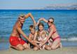 Family at sea shore beach