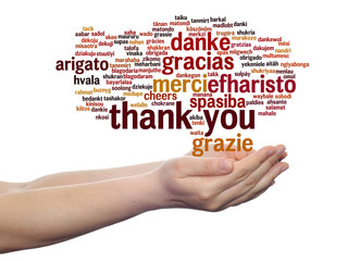 Conceptual thank you word cloud isolated