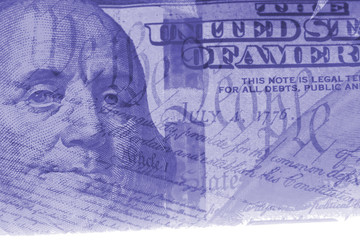 Double exposure US constitution We the People and hundred dollar