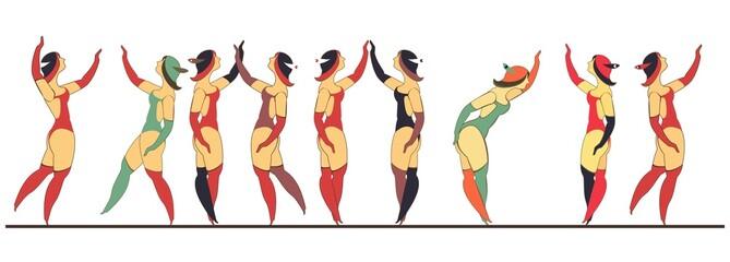 set of circus dancer poster