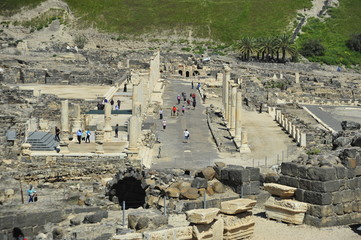 Aerial view on antiquities of Bet She'an NP, Israel