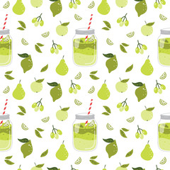 Seamless pattern with smoothie and fruits.