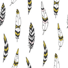 Beautiful indian seamless pattern with feathers in vector.