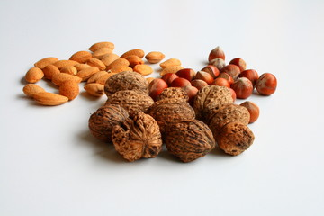 Assortment  nuts on white background
