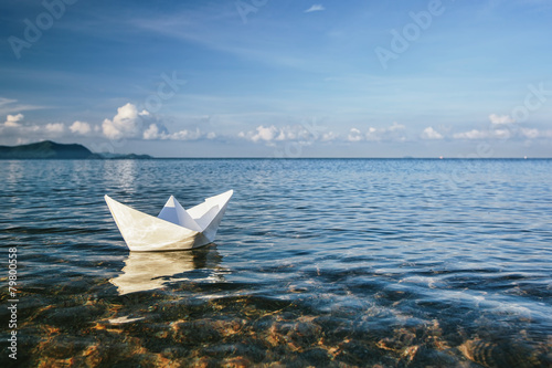 canvas print picture paper boat