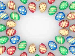 Decorated easter eggs frame on white , copyspace