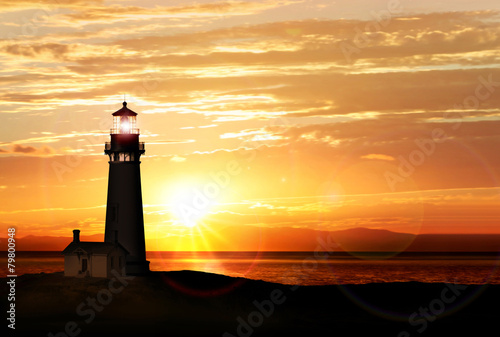 Poster Kust Lighthouse at sunset