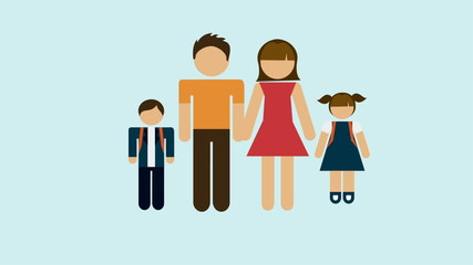 Design of family on hearth shape, Video animation, HD 1080