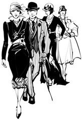 Group of people wearing 1910-1940 dress