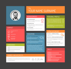 cv / resume template dashboard