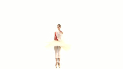 Young ballerina spinning on white background