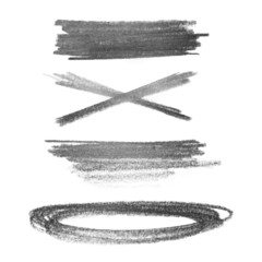 set photo grunge strokes graphite pencil  isolated on white