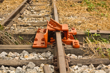 De-Rail Device on Track during construction in a rail yard.