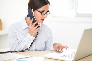 Young woman employee doing customer service