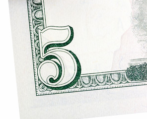 The element of five dollars isolated on white background.